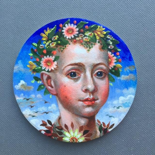 Garland Crown 1, 2019 3 acrylic on wood 3 inch diameter