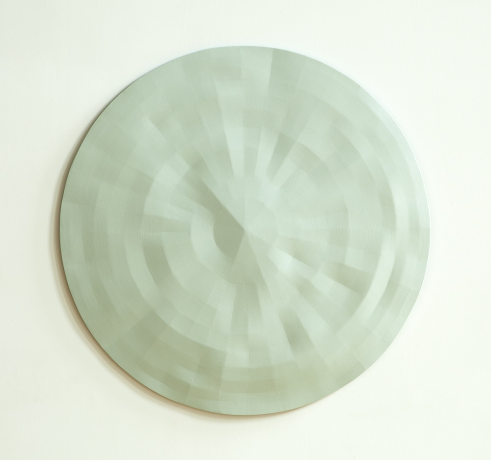 Rupert Deese, Merced and Tuolumne/10 (pale green) 2006 oil on wood 44 inch diameter