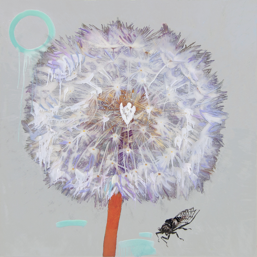 Hung Liu, Dandelion with Cicada-Siver, 2019 mixed media 48 × 48 inches