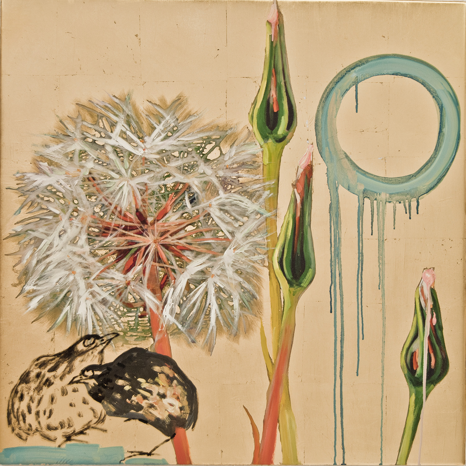 Hung Liu, Dandelion with Birds II, 2016 mixed media 60 × 60 inches
