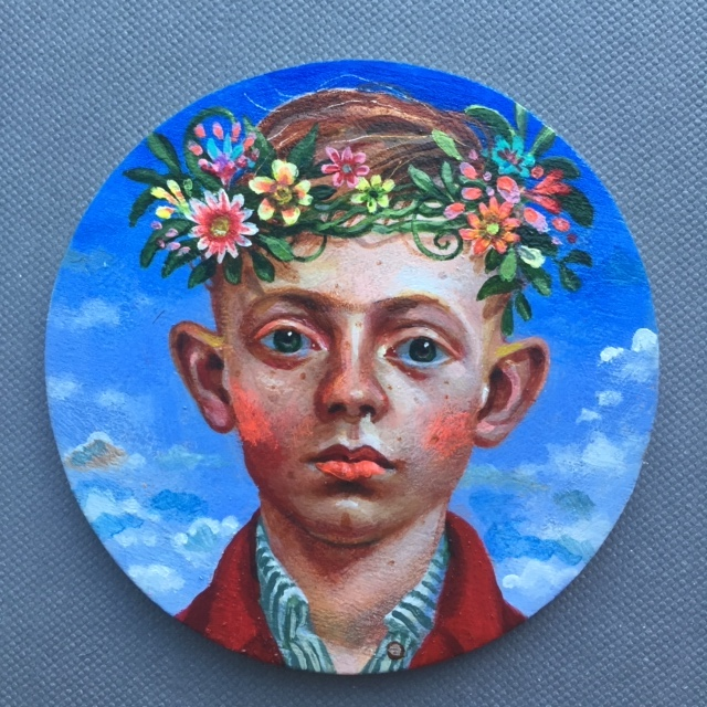 Copy of Timothy Cummings, Garland Crown 3, 2019 acrylic on wood 3 inch diameter