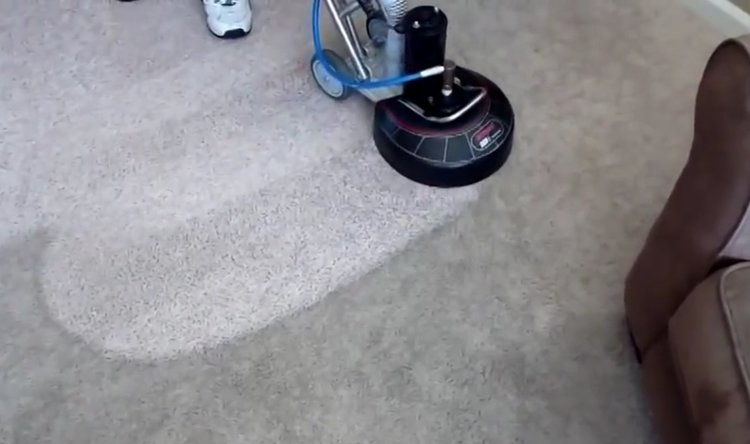 Rotovac 360I carpet cleaning on a low pile carpet in Victoria B.C.