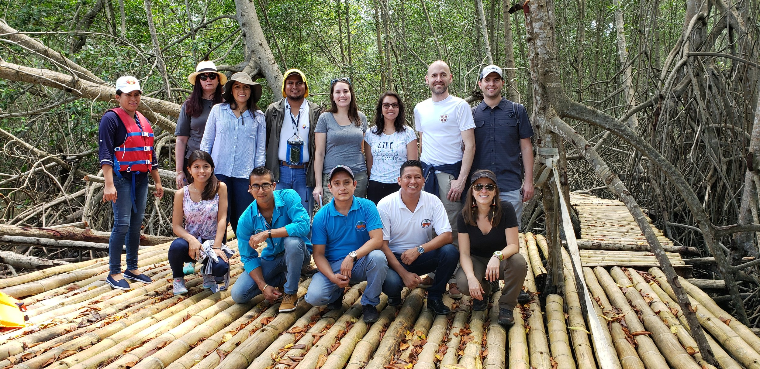B4Nature participants in the mangrove restoration area managed by the Nuevo Porvenir Association. The restored mangroves provide a critical source of income for the community, which collects crabs using sustainable fishing practices. The area is also used for ecotourism excursions along this new mangrove boardwalk.