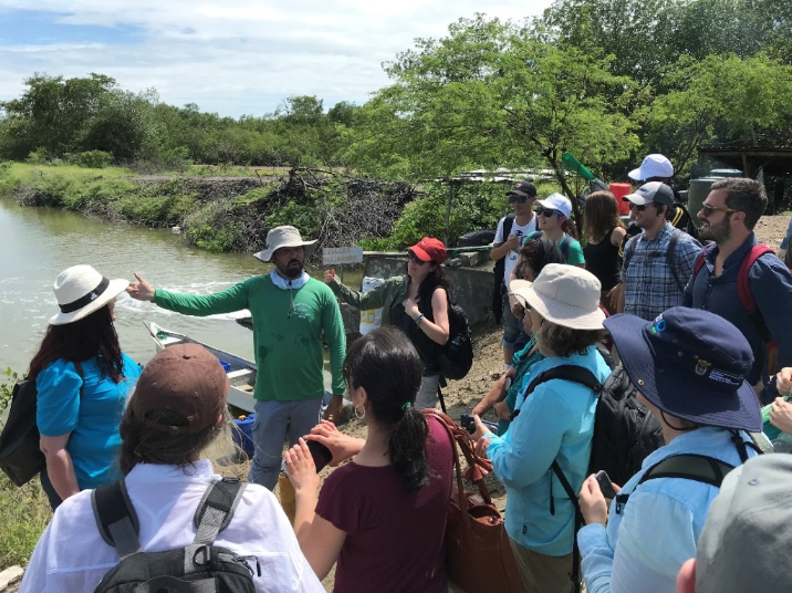 B4Nature participants joined CI scientists on a green-gray infrastructure field trip to learn about sustainable aquaculture solutions paired with mangrove restoration.