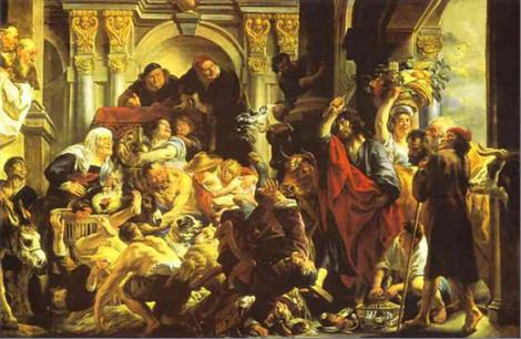 A purificação do Templo 1650 – Jacob Joardaens – Louvre 288 X 436 cms