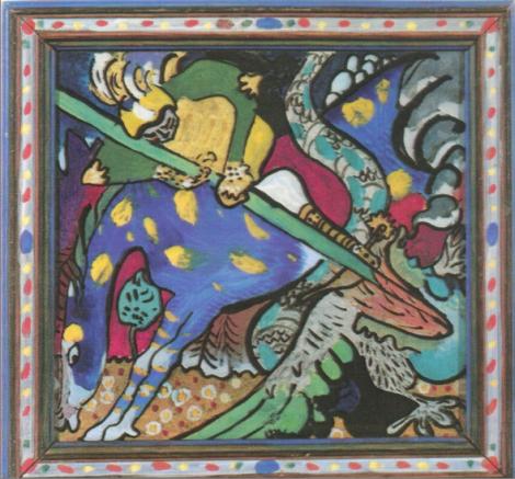 Wassily Kandisnky São George 1911. Pintura em vidro 19 X 19. Lenbachhaus Munique