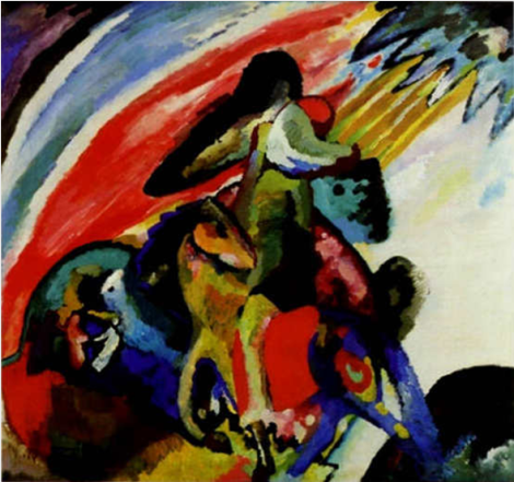 "Wassily Kandinsky  Improvisation 12 (Rider)""  1910 oil on canvas 97,5х106,5 sm  Munich, Stadtische Galerie in Lenbach, Germany"