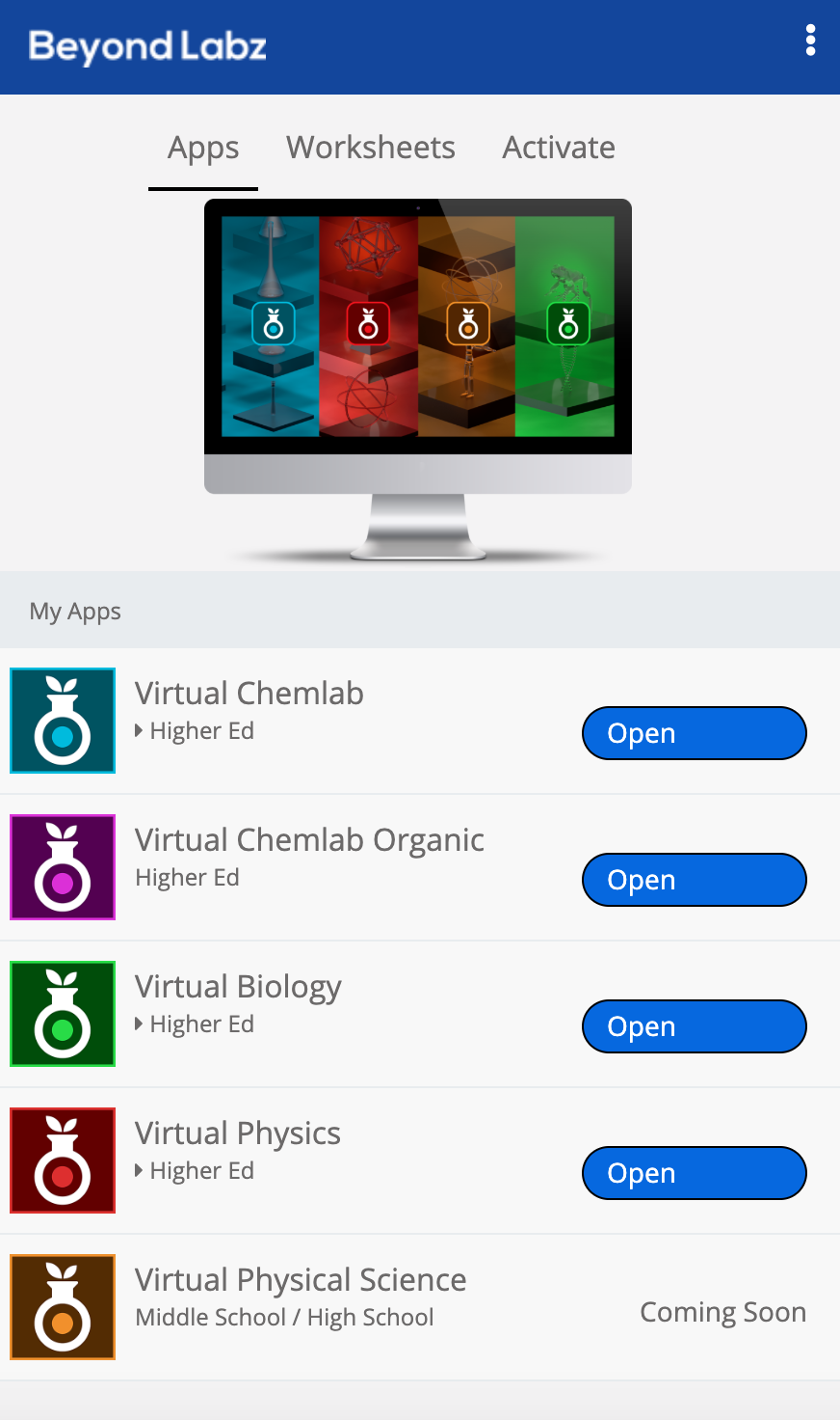 The focal point for accessing the Beyond Labz virtual labs and accompanying lab activities.
