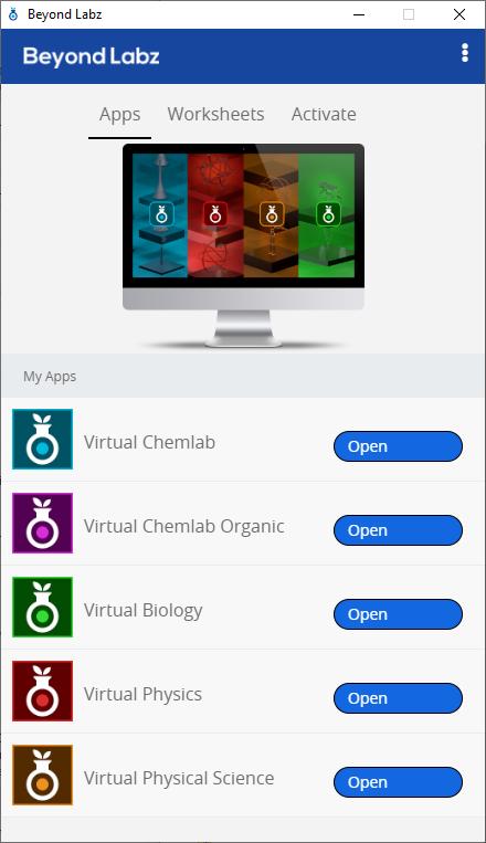 Beyond Labz virtual labs Launch Menu