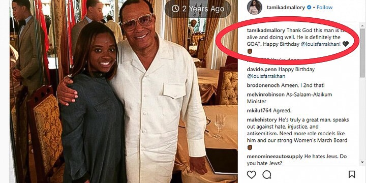 "Screenshot: Tamika Mallory's IG Page: ""Thank God this man is still alive and doing well. He is definitely the GOAT. Happy Birthday @louisfarrakhan!"""