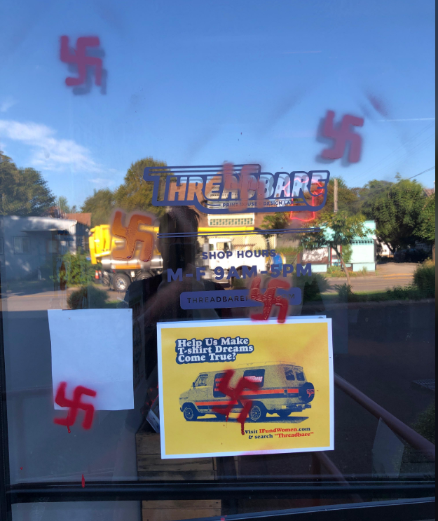 Eugene Chief of Police Chris Skinner says extensive swastika graffiti was painted in parts of the city, including businesses and public areas. (Photo courtesy Amy Baker)