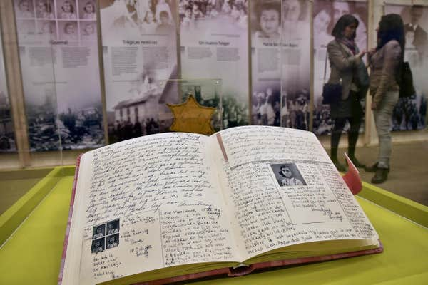 Anne Frank's diary displayed (AFP/Getty Images)