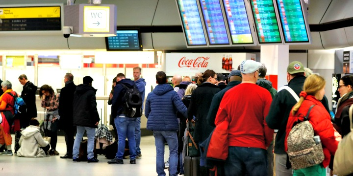 Passengers at Tegel Airport in Berlin. Photo: Reuters/Fabrizio Bensch.