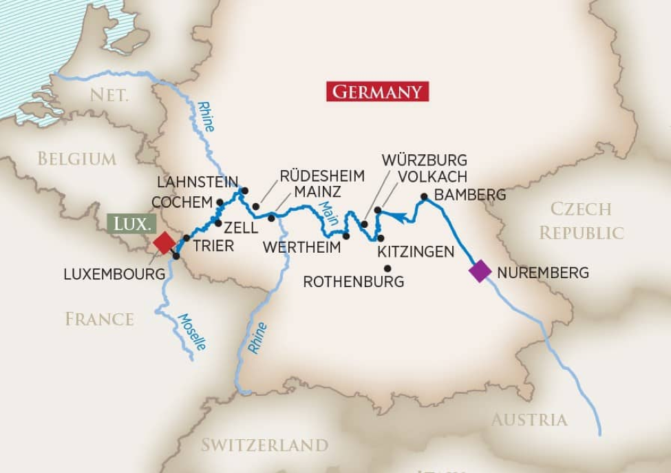 Moselle River route from Luxembourg to Nuremberg (click to enlarge)