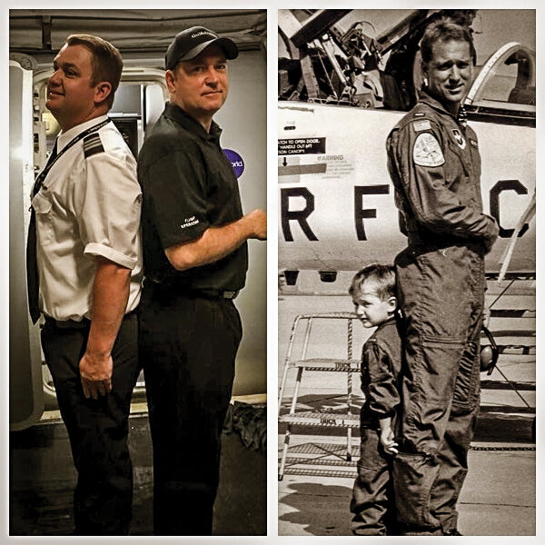Left: Colter and his dad at 1st Envoy First Officer Flight in Texas in 2018. Right: Colter (age three) with dad at 1st T-18 AF flight in Texas in 1987.