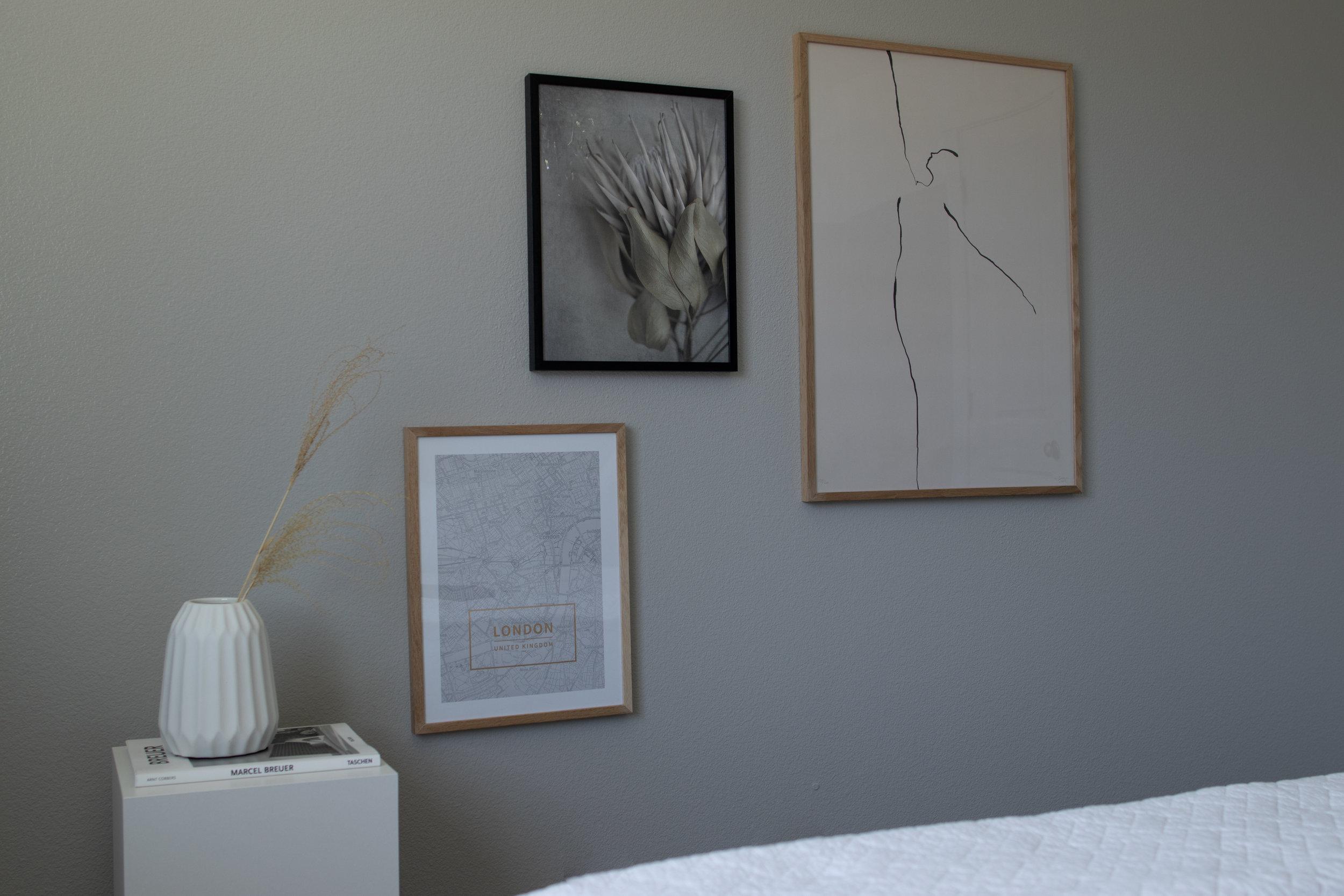 Art Wall in a Minimalist Bedroom