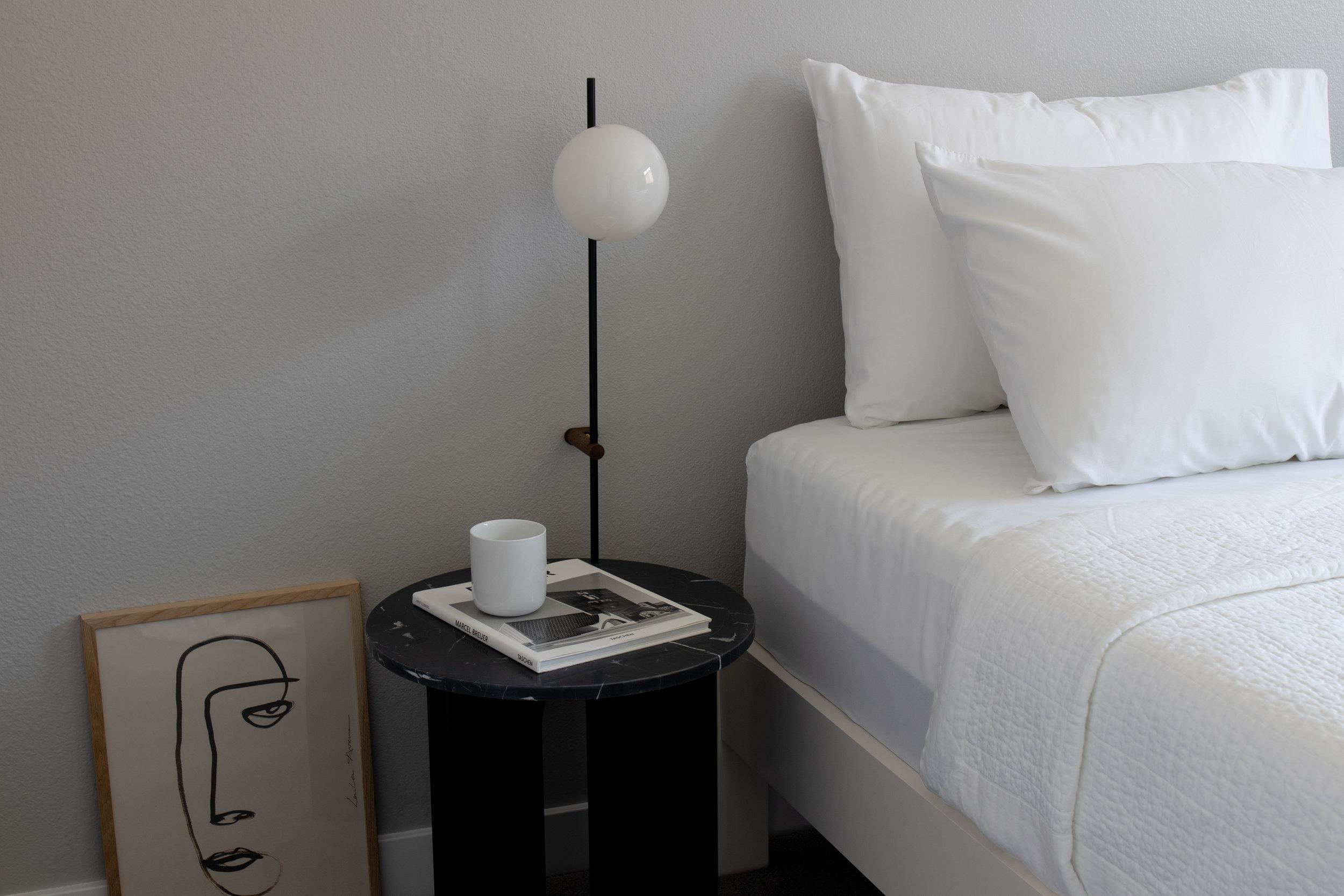 Menu bedside marble table in minimalist bedroom