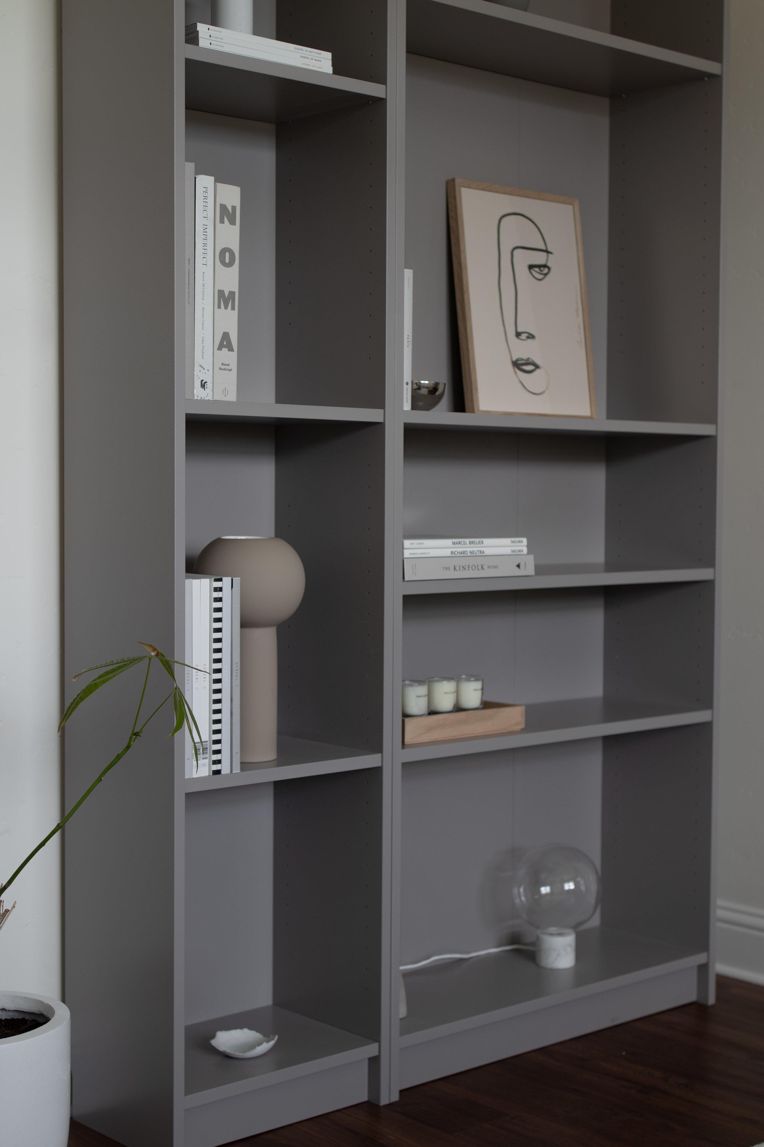 Minimalist Bookshelves in living space