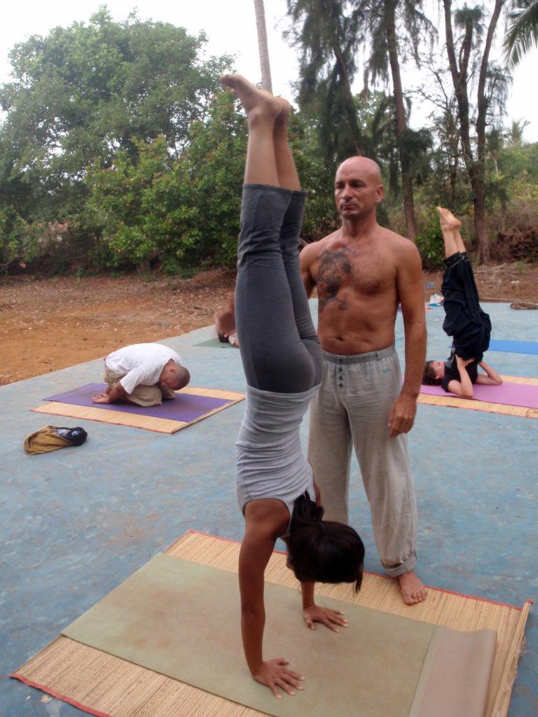 Practicing Handstands - Shri Kali Ashram