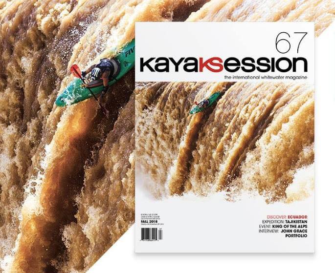 Abe Herrera, founder of boofsessions in the Cover Shot of KayakSession Magazine #67