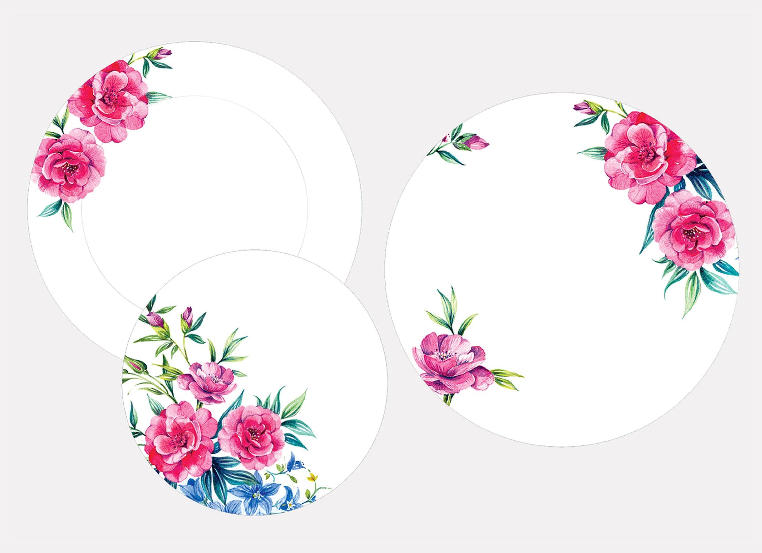 'Camelia' - Dinner plate, side plate & platter
