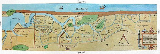 Salthouse ancient channel map made by Surveyor John Hunt in 1649.