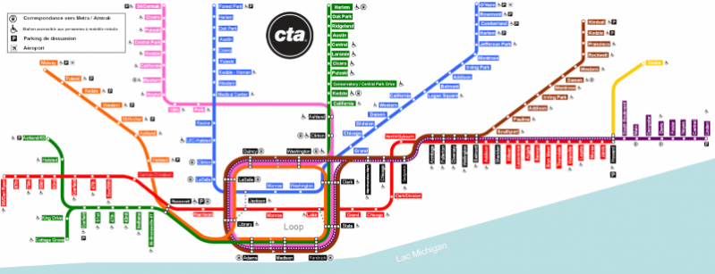 "Chicago ""L"" train line (in French). Wikimedia Commons."