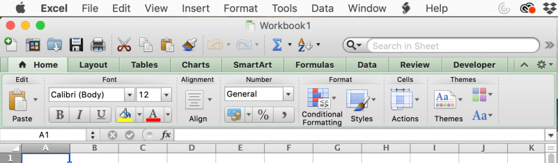 Menu and Ribbon sections of Microsoft Excel 2011 for Mac