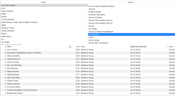 "iTunes ""Browse by Song"" window."