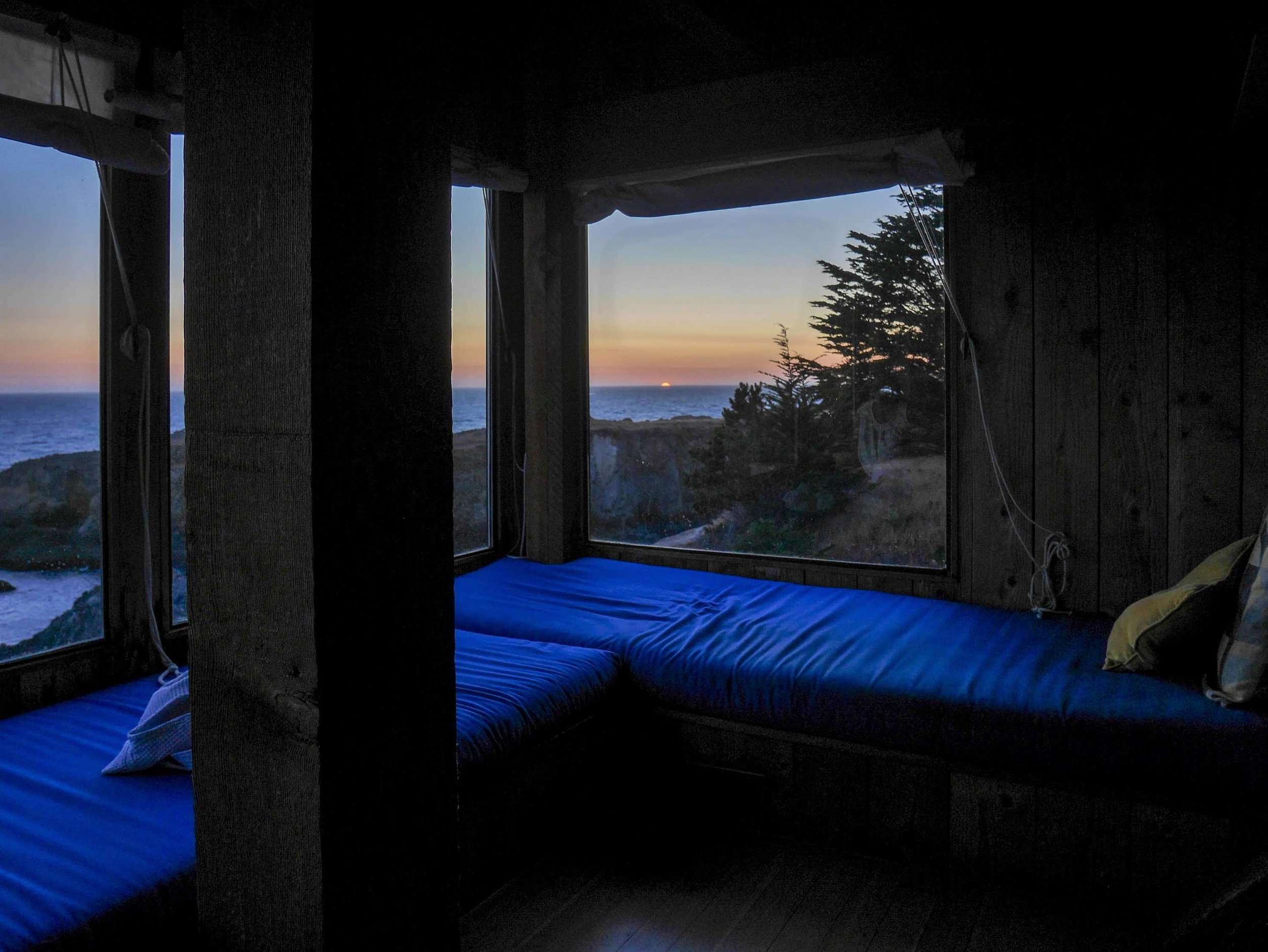 One of the most profound places I've ever lazed about: the window seat in Charles Moore's condominium at The Sea Ranch in Sonoma County, California.