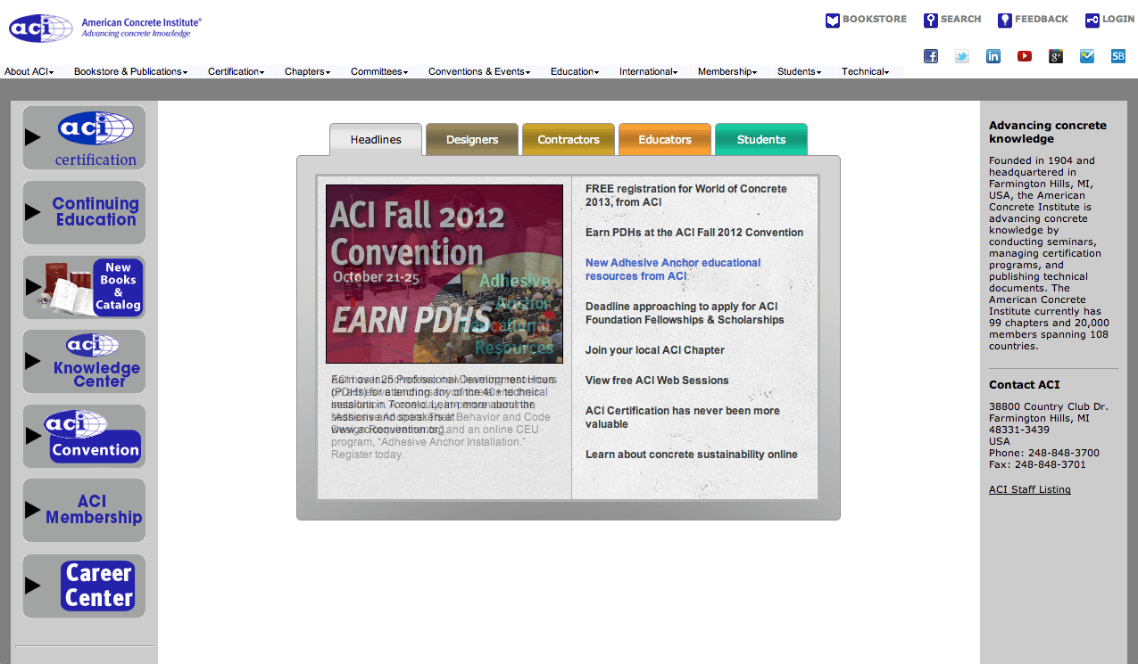 ACI homepage prior to TUG engagement