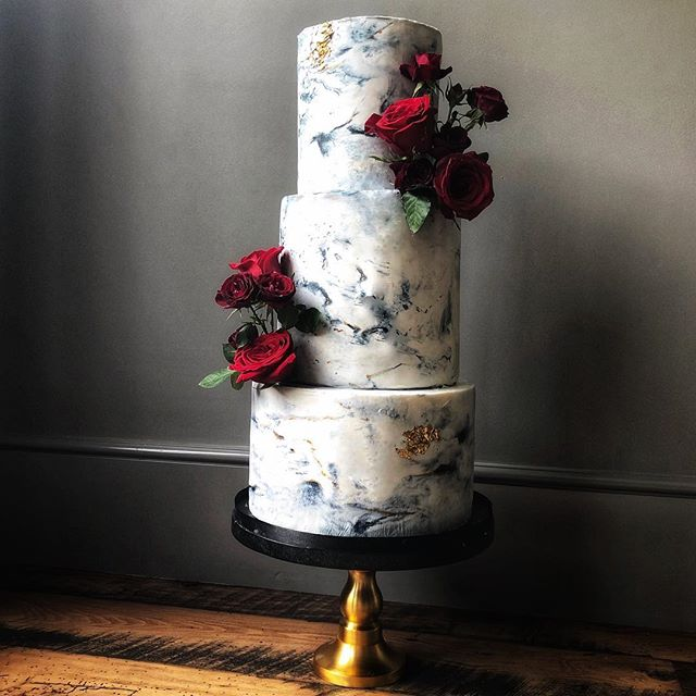 Marbled buttercream with fresh blooms.