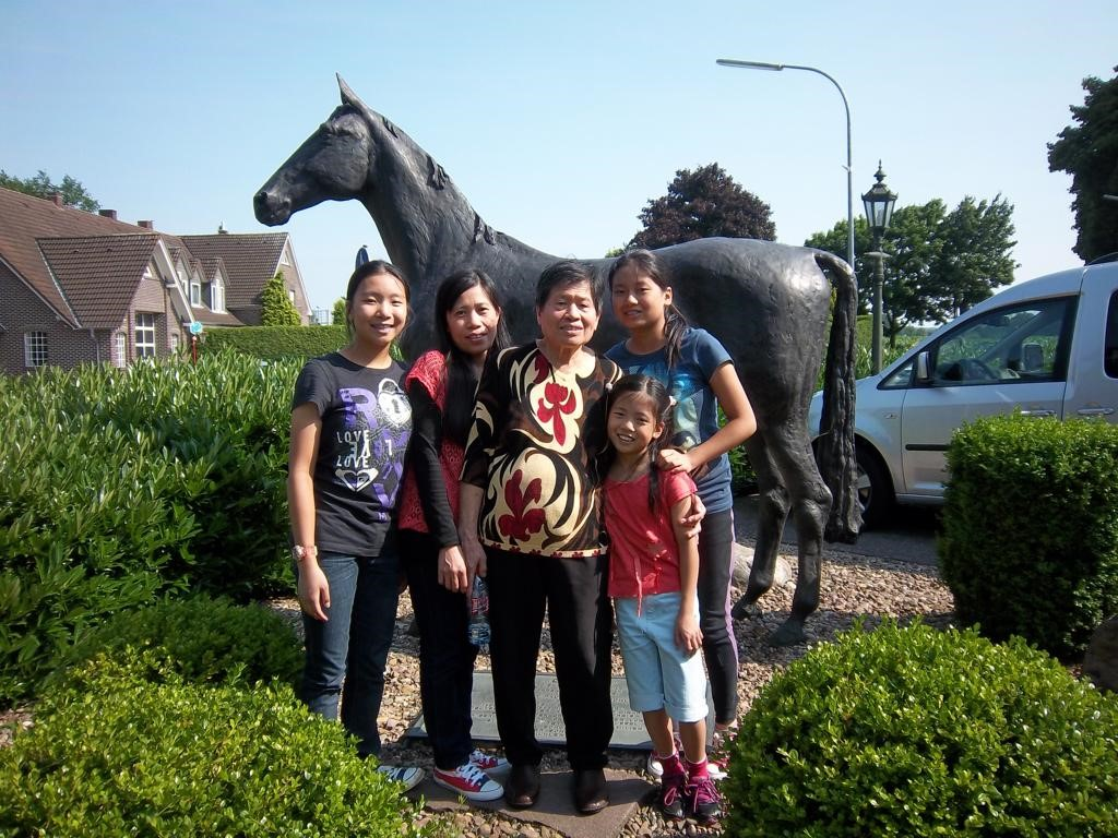 Rowena, the employers' three daughters and his mother in Germany