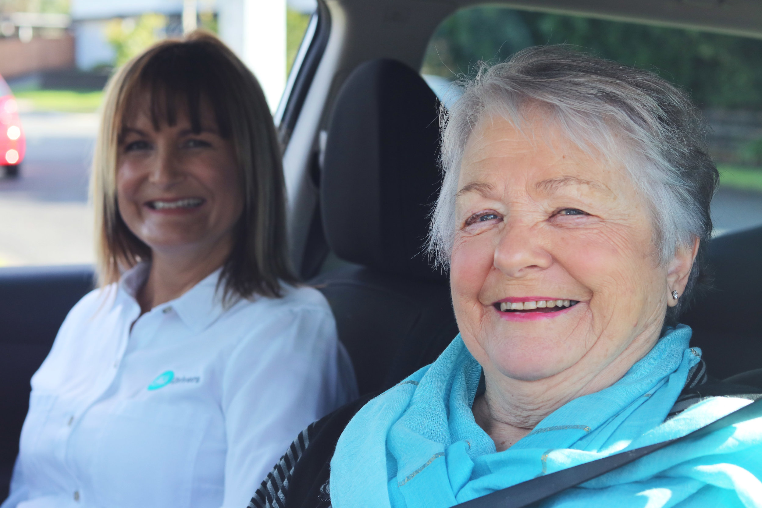"""Testimonial - """"I have a jolly old time with Nicola every week as she takes me out to get my groceries at the special shop I like which is a bit far away for me to drive myself. A wonderful Companion Driving Service!""""- Colleen Roughton 80 years old"""