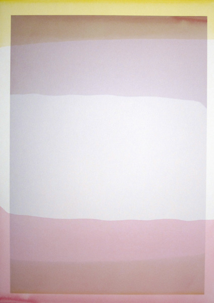 Three Quarter Passes,  yellow-magenta, 2012.  Diluted inkjet ink used as dye,  inkjet print on paper, 21 x 30 cm
