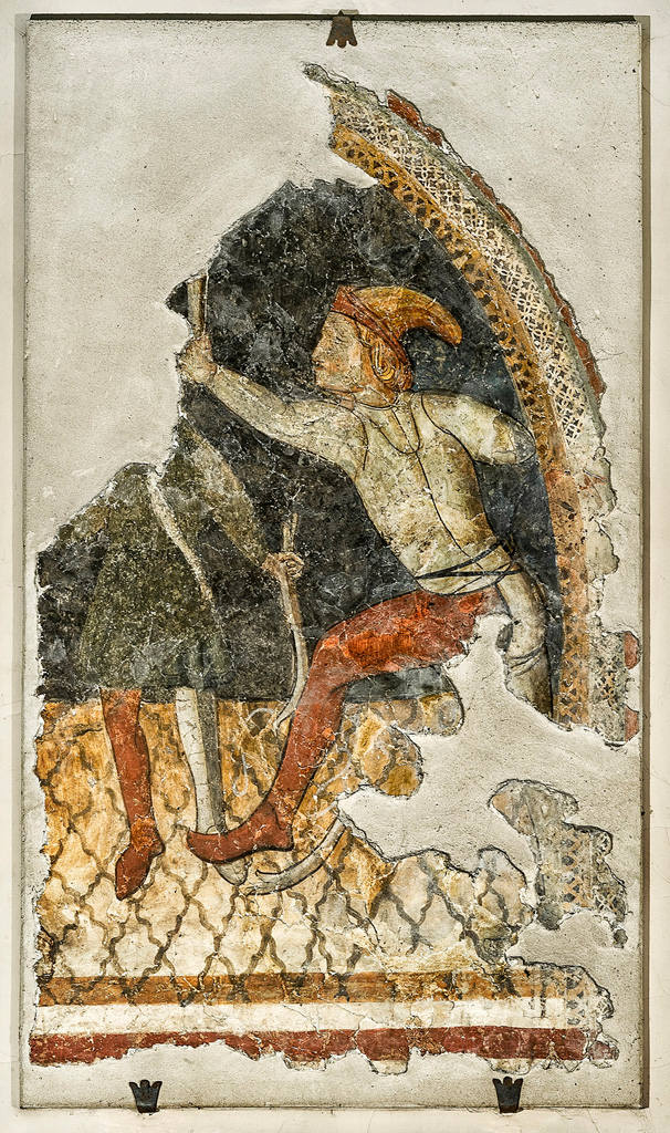 Fresco of an archer, c. XIV century, attributed to the Umbrian school