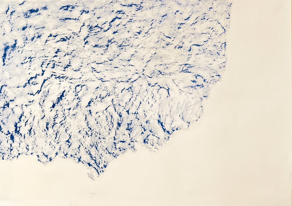 Possible Impressions, 2014 Blue conte frottage, 80 x 50 cm