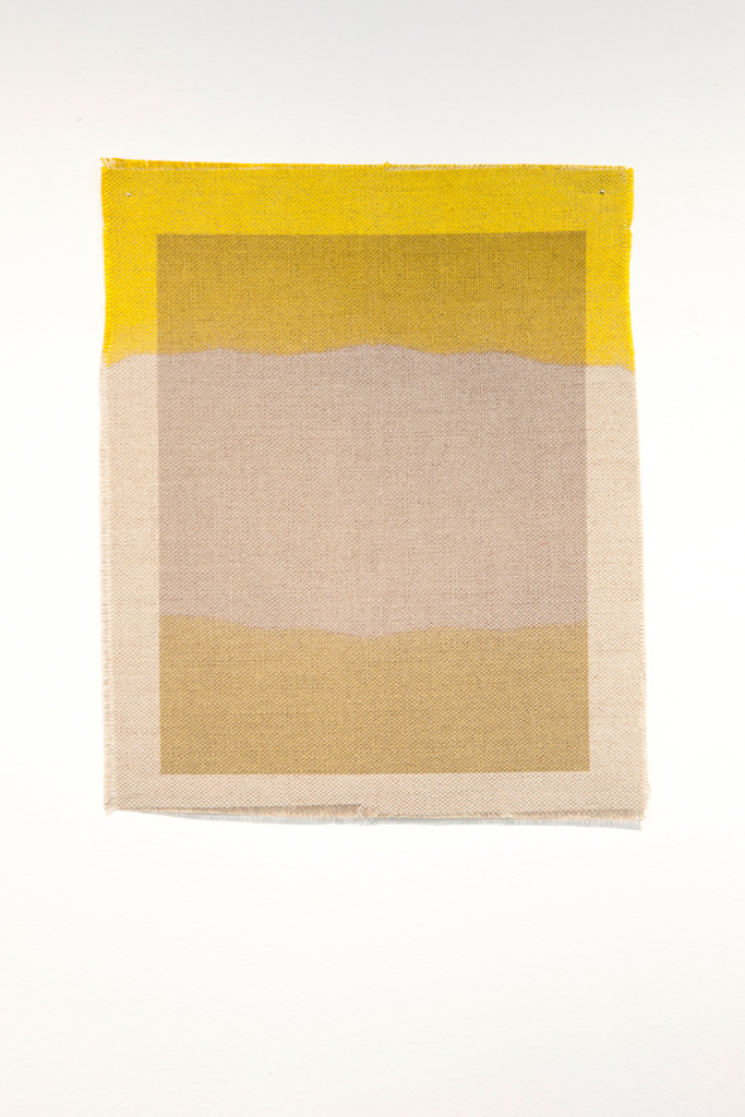 Three Quarter Passes,  yellow, 2012. Inkjet ink used as dye,  inkjet print on canvas, 21 x 25 cm