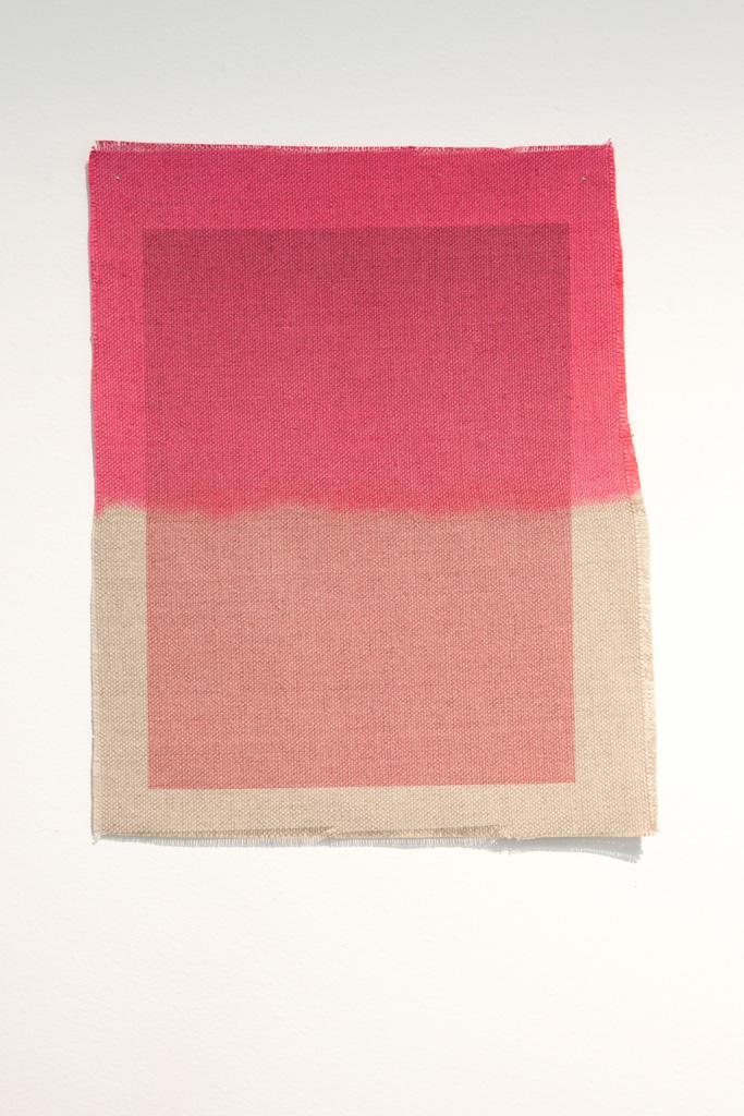 Three Quarter Passes, magenta, 2012. Inkjet ink used as dye,  inkjet print on canvas, 21 x 25 cm