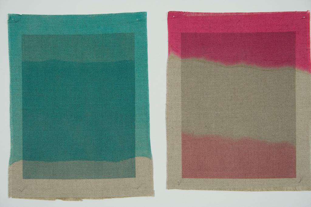 Three Quarter Passes, cyan, magenta, 2012. Inkjet ink used as dye, inkjet print on canvas, 21 x 25 cm