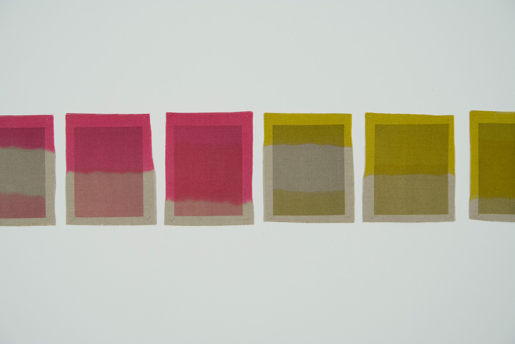 Three Quarter Passes, magenta, yellow, 2012. Inkjet ink used as dye, inkjet print on canvas, 21 x 25 cm