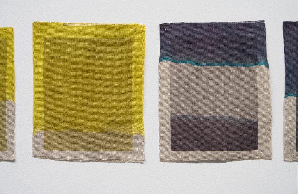 Three Quarter Passes, yellow, black, 2012. Inkjet ink used as dye, inkjet print on canvas, 21 x 25 cm