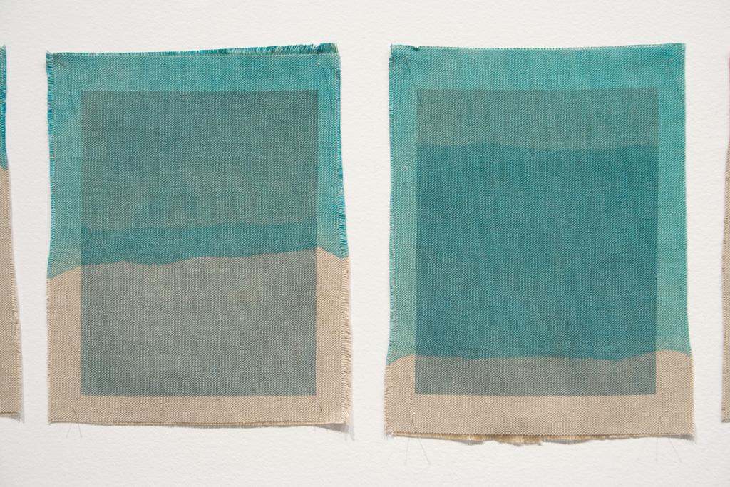 Three Quarter Passes,  cyan, 2012. Inkjet ink used as dye,  inkjet print on canvas, 21 x 25 cm