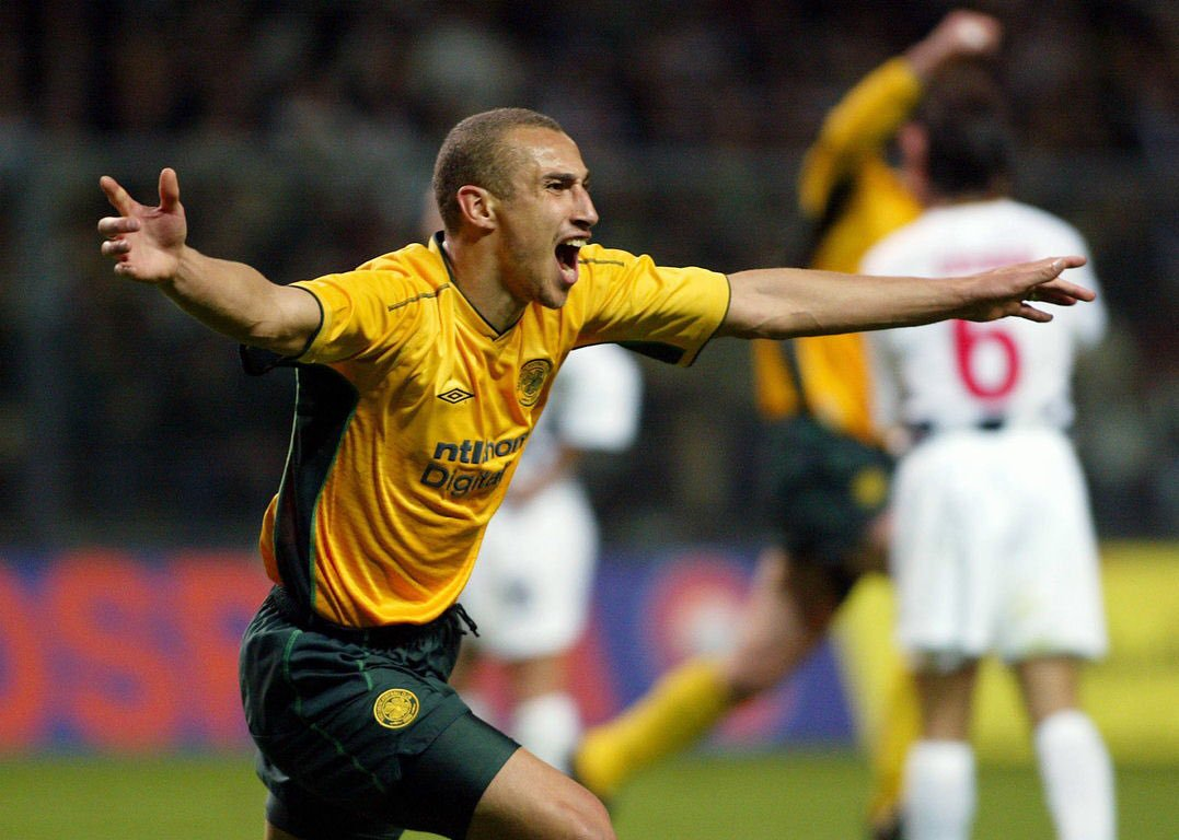 Celtic's Henrik Larsson scores against Boavista to secure the club's place in the UEFA Cup Final in 2003.