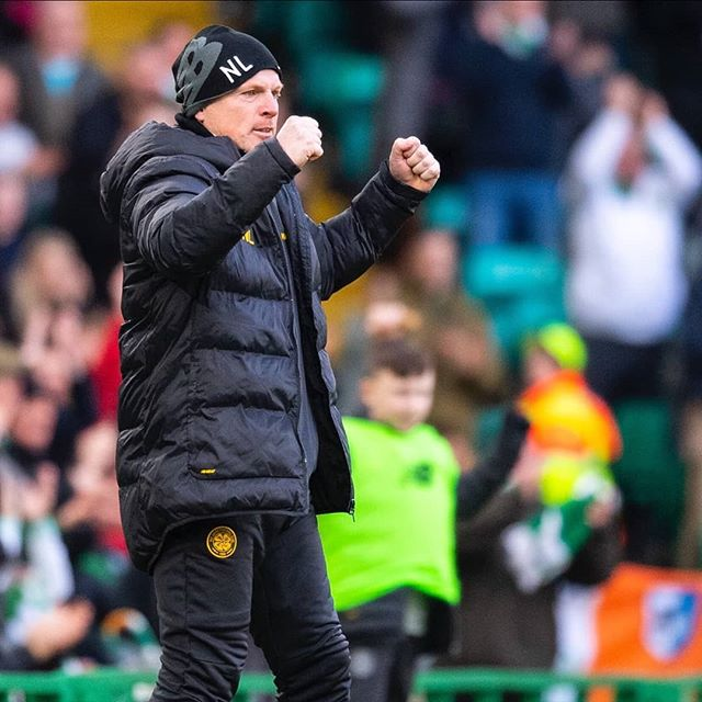 Manager Neil Lennon celebrates Celtic's empathic 6-0 win over Ross County on Saturday. #celticfc #neillennon #celticpark #rosscounty