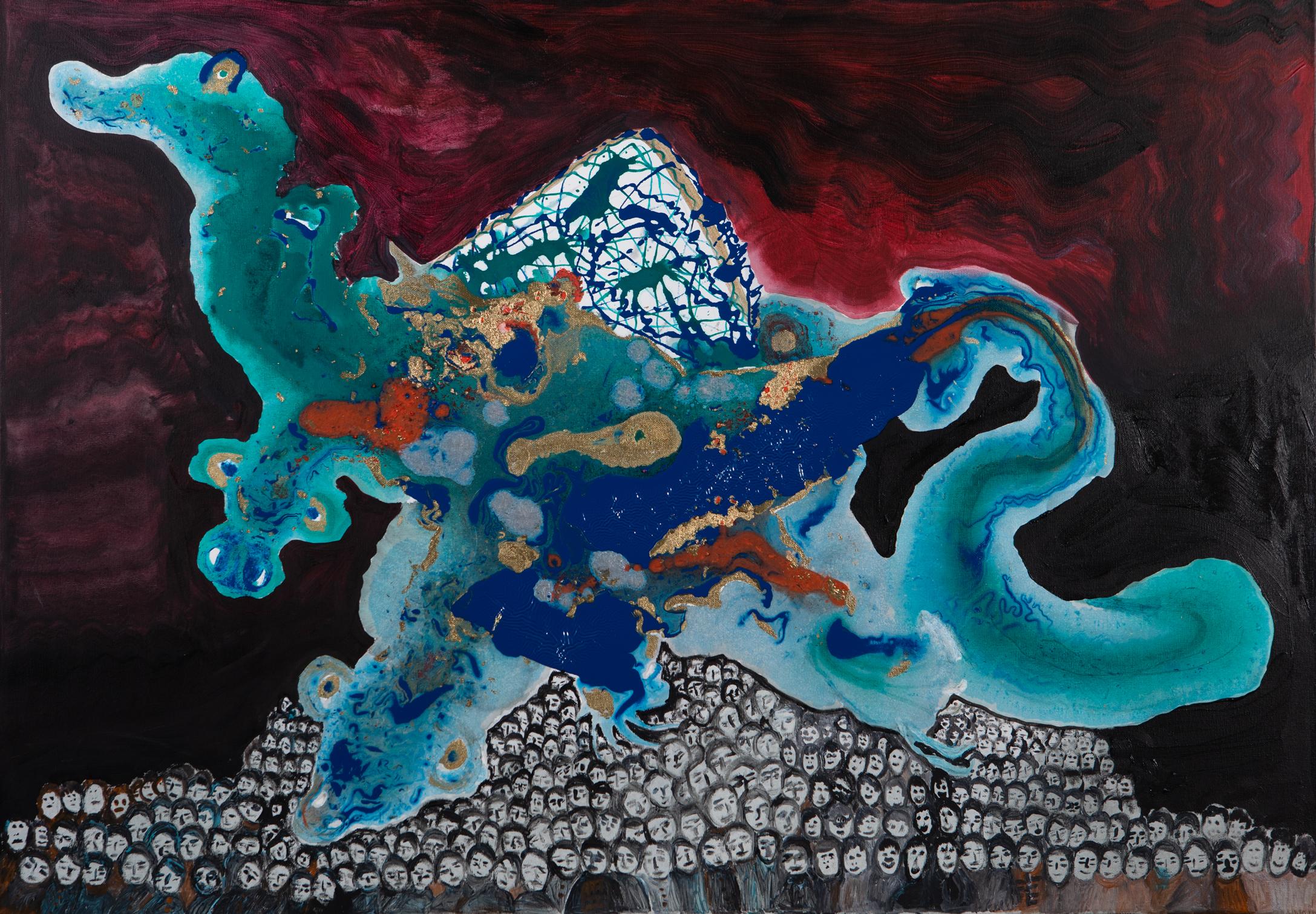 Dreiköpfiger Drache - 2016Acryl auf Leinwand70 x 100 cm