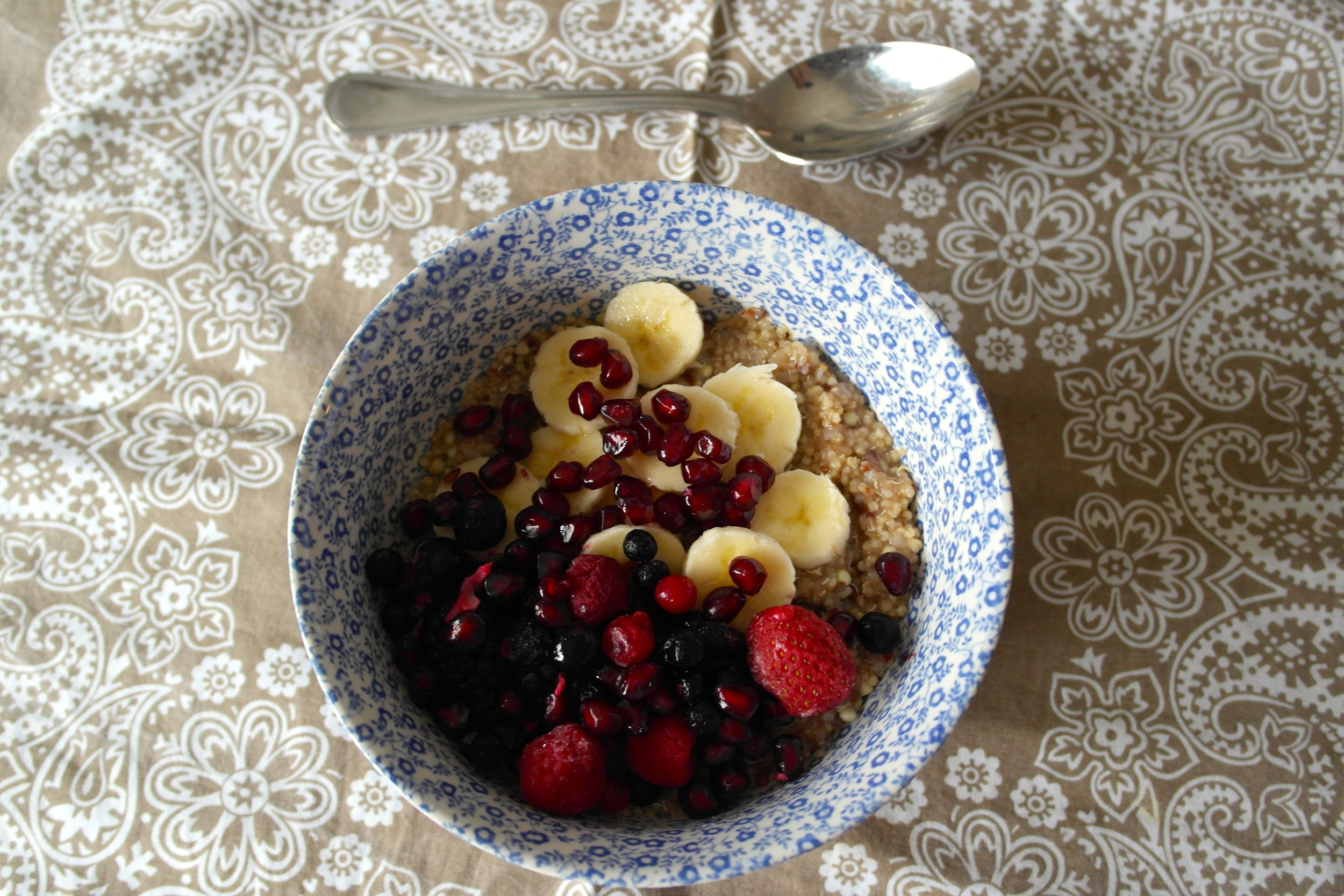 Topped with berries and banana