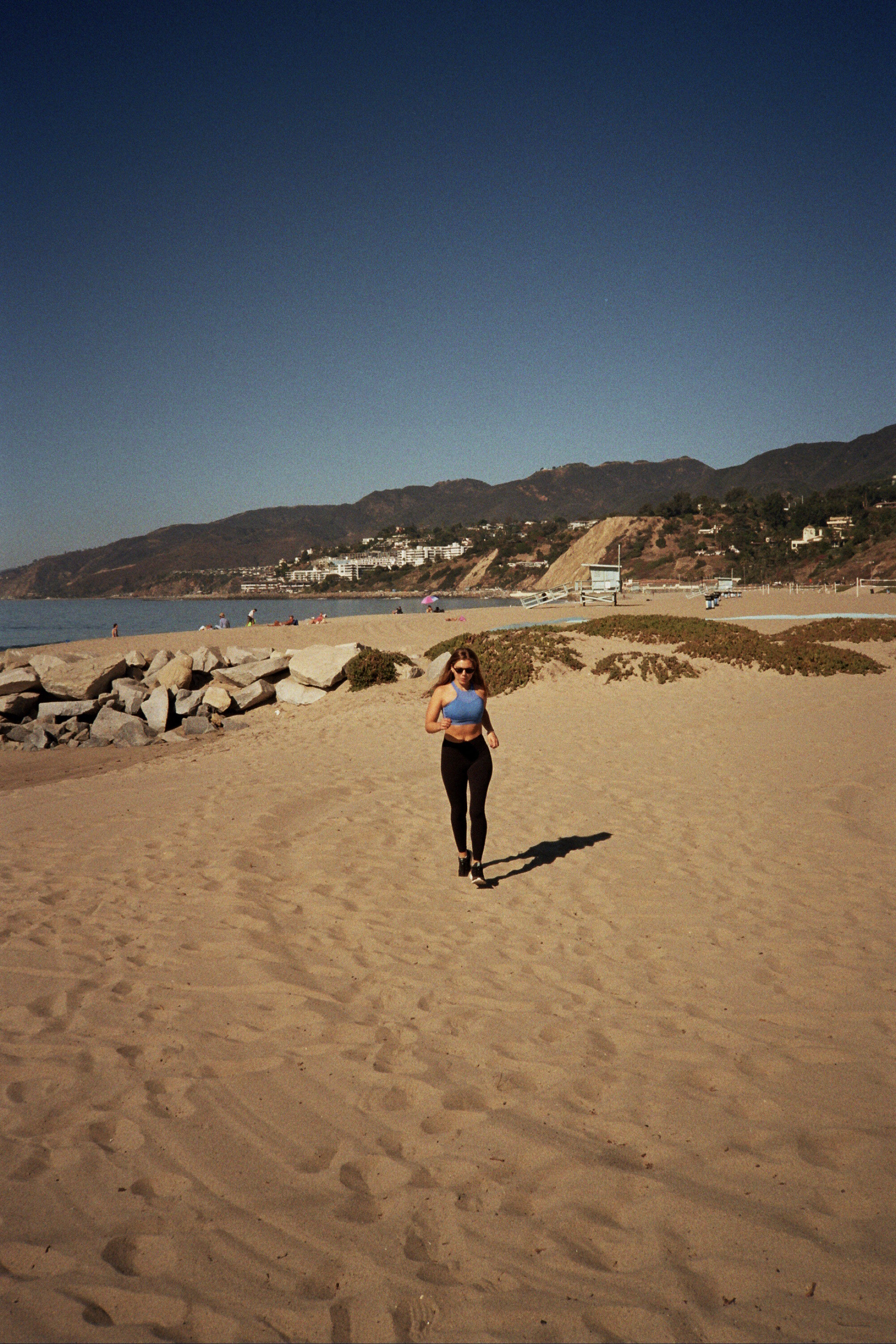 Running on the beach in Santa Monica