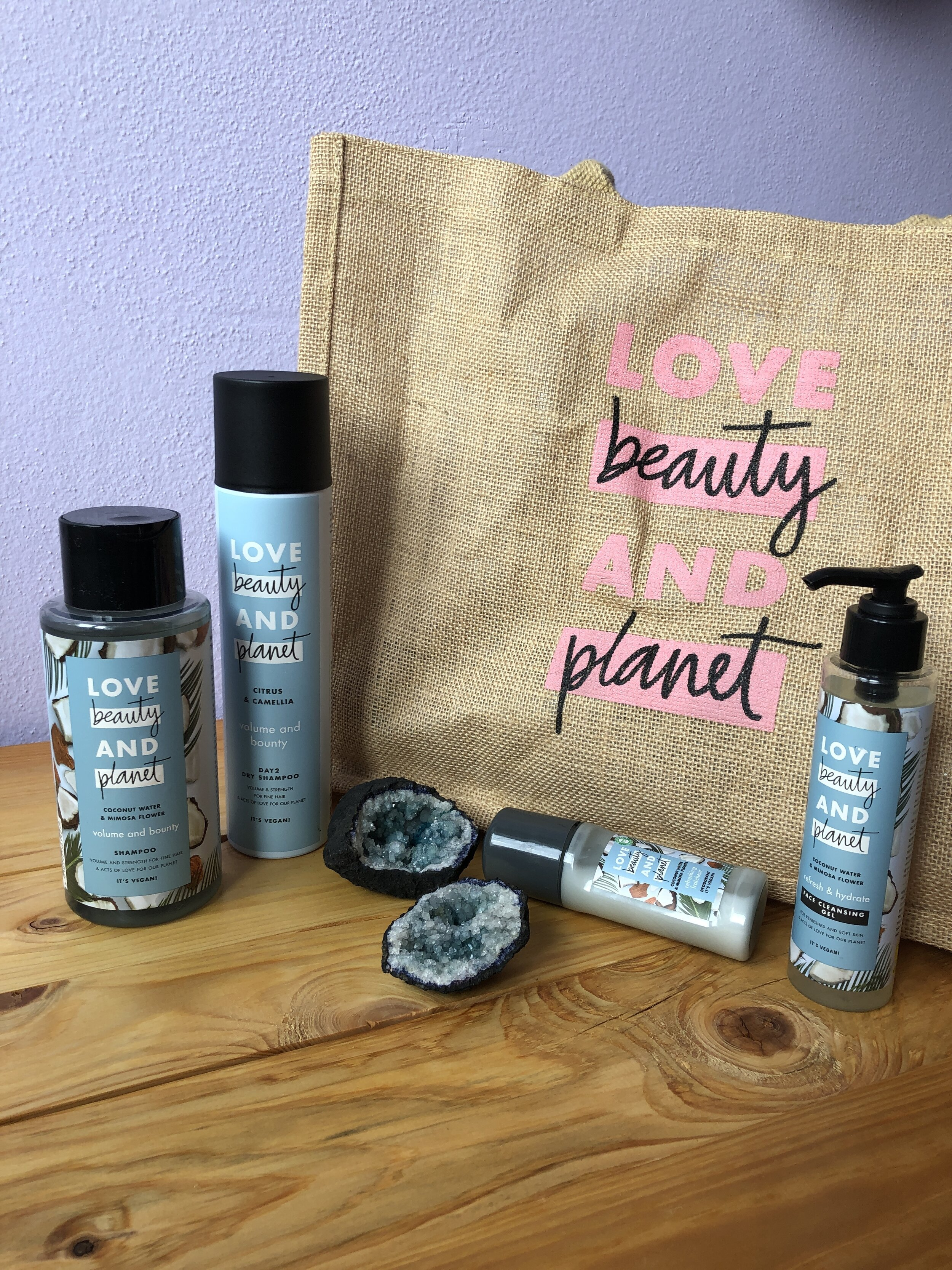 Love, Beauty & planet shampoo, dry shampoo, deodorant & face cleansing gel