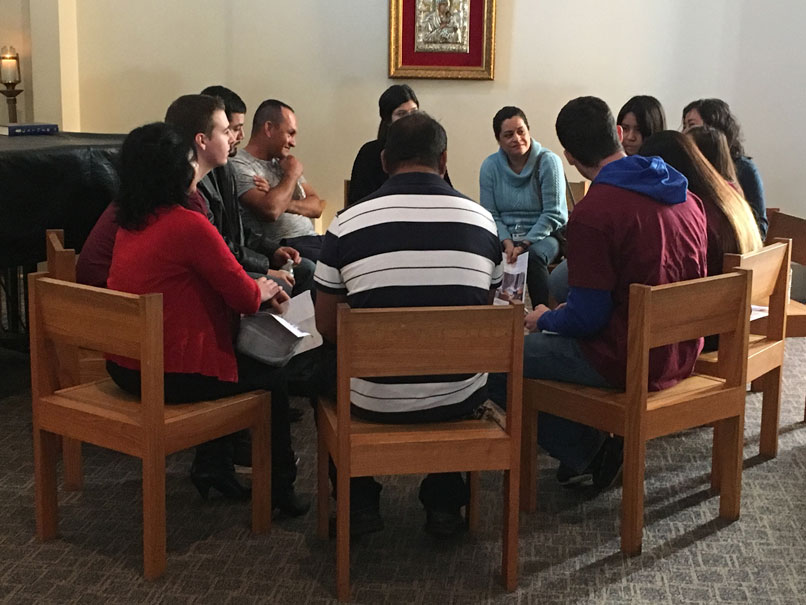 Students from Spanish 306 facilitate story circles with Latinx community members at St. Thomas Moore Church in Chapel Hill, NC.